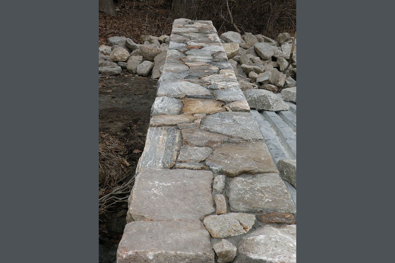 top view of stone wall being built