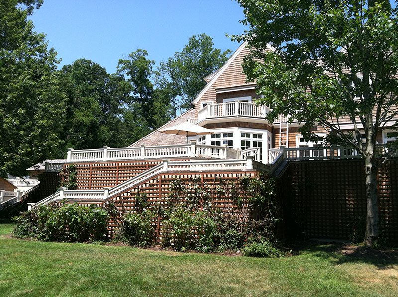 large house with vines on wall fence
