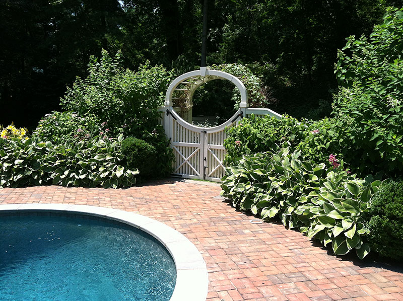 Landscaping around a pool cheap garden design with nj for Landscaping around pool