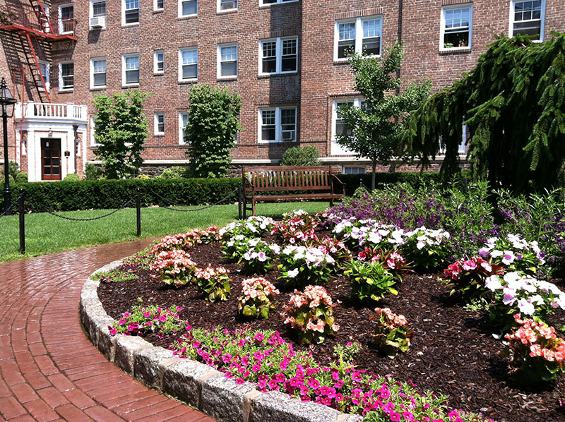 courtyard center with flower bed
