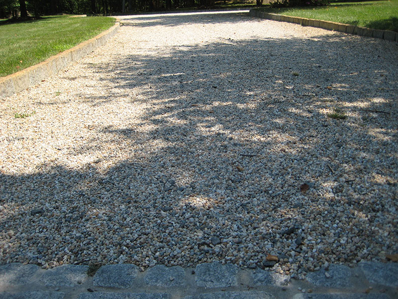 close-up view of pebblestone driveway