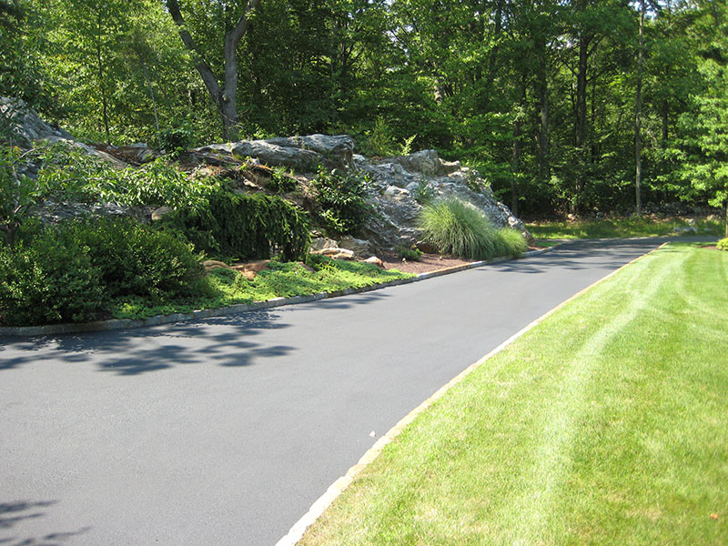 long beautiful paved driveway